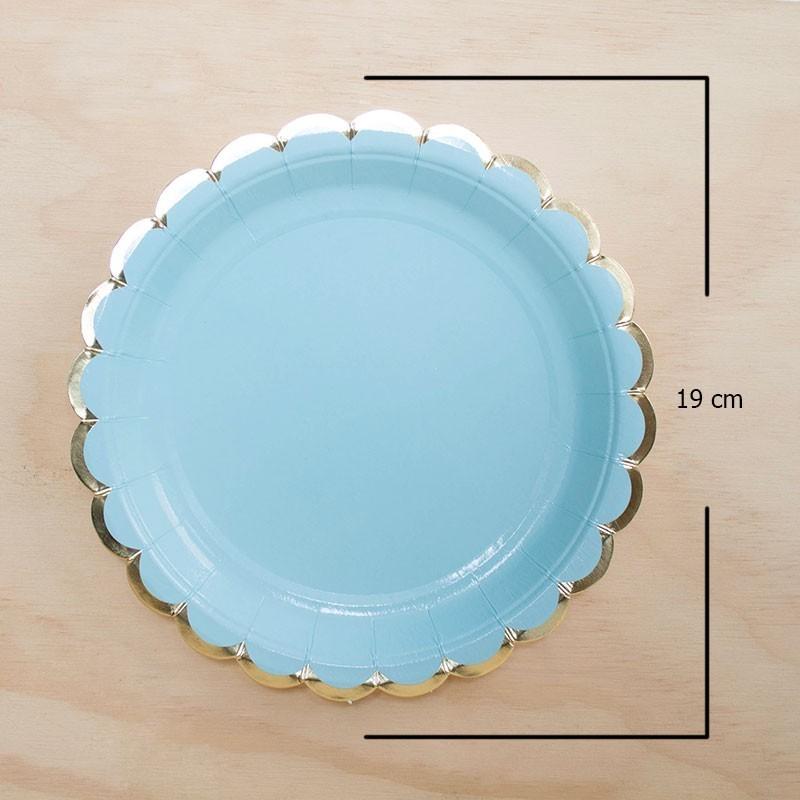 6 platos azul borde dorado