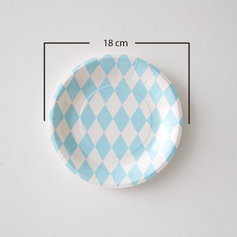 12 Platos redondos rombos azul