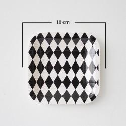12 Platos cuadrados rombos negro