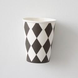 12 Vasos cuadrados rombos negro