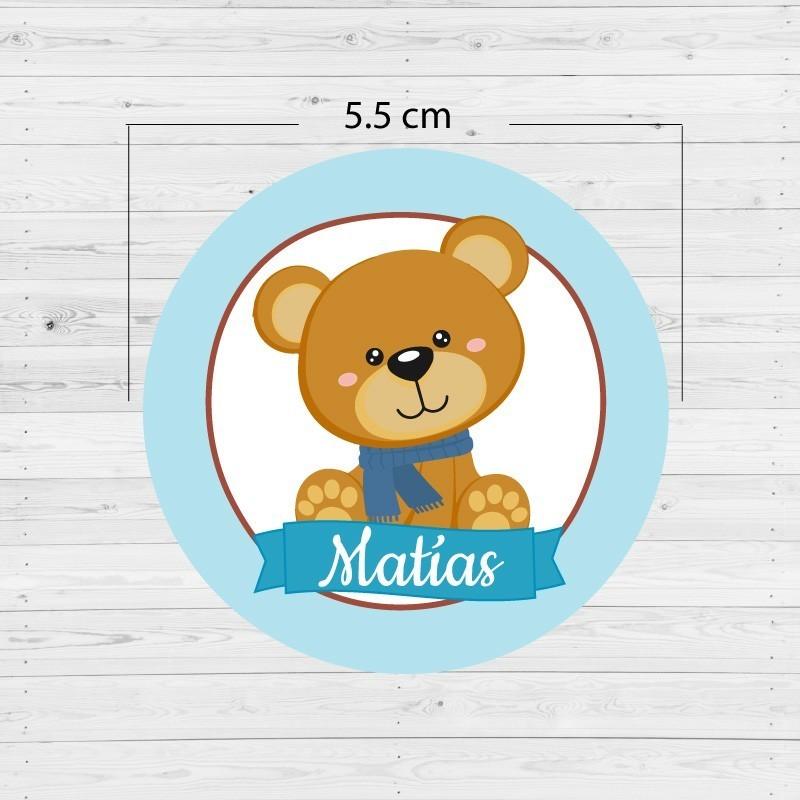 Etiquetas adhesivas redondas oso