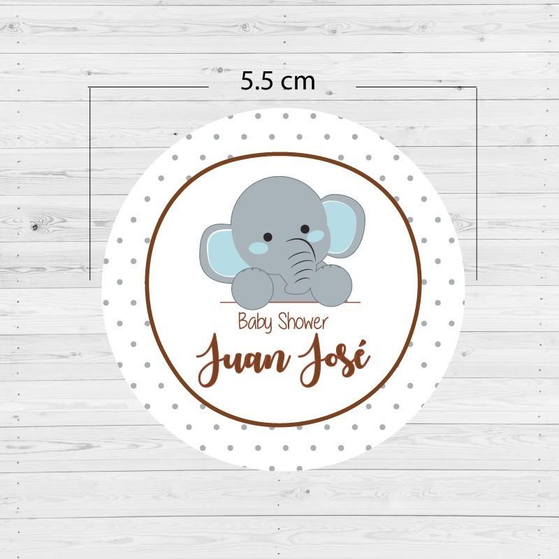 Adhesivos redondos elefante (12 unidades)