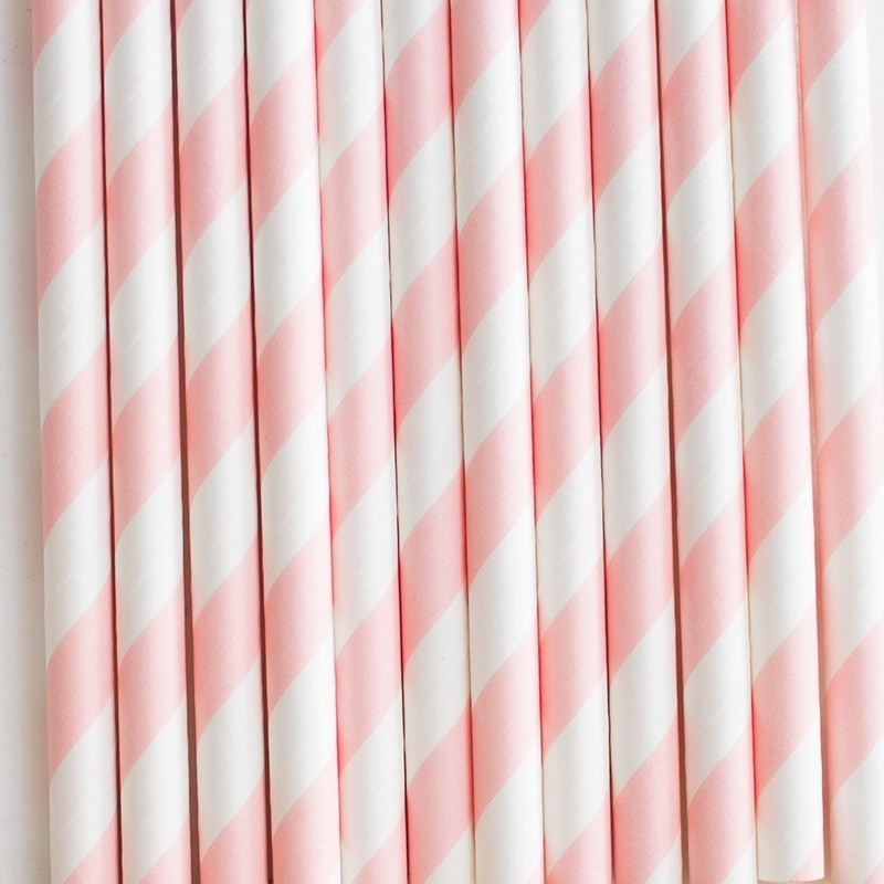 Pitillos de papel rayas rosado