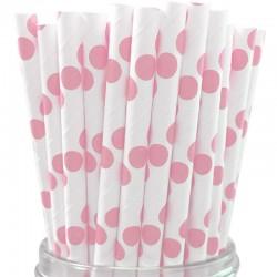 Pitillos de papel puntos rosado