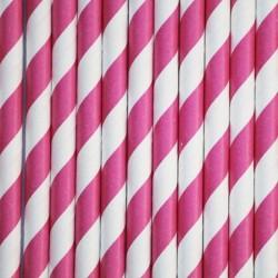 Pitillos de papel rayas magenta
