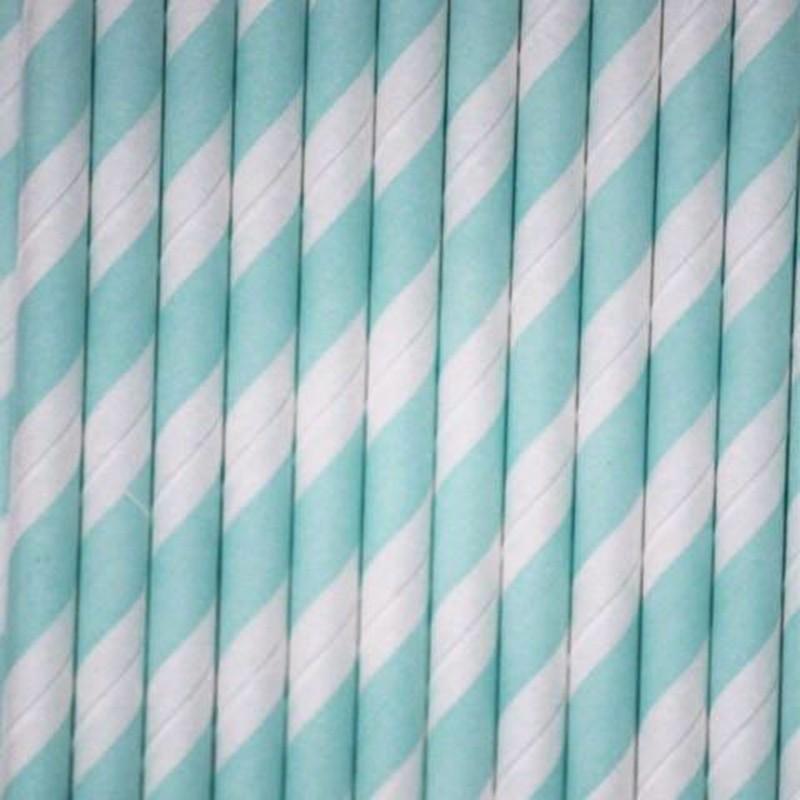 Pitillos de papel rayas aguamarina