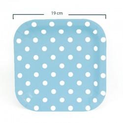 Platos de cartón cuadrados puntos azul