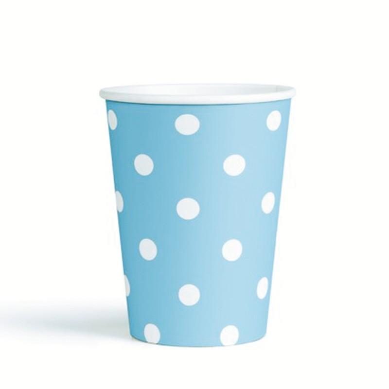 Vasos de cartón azul puntos