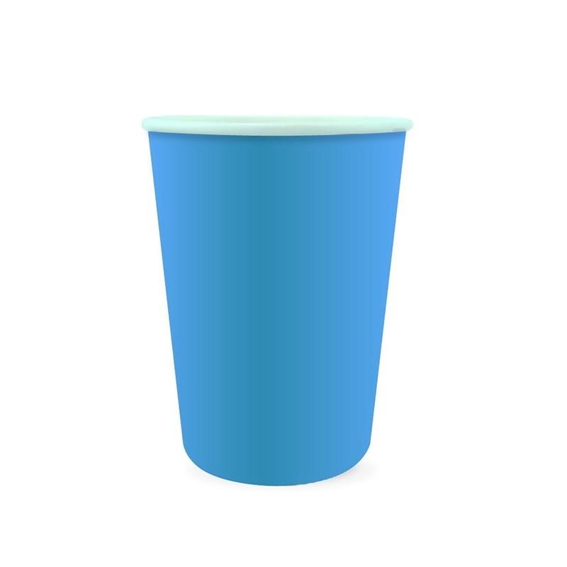 Vasos de cartón azul medio