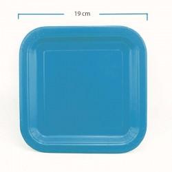 Platos de cartón cuadrados azul