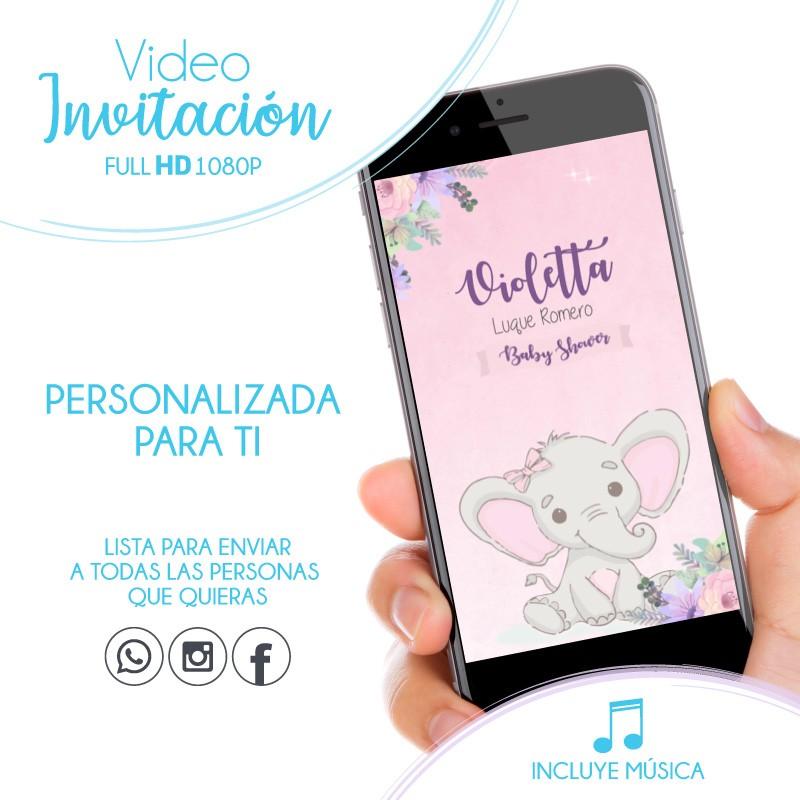 Convite Chá de Bebê Elefante Rosa