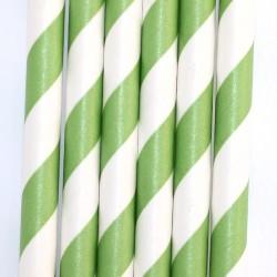 Pitillos de papel rayas verdes