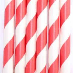 Pitillos de papel rayas rojas