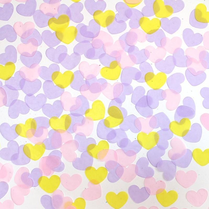 Confeti corazones tonos pastel