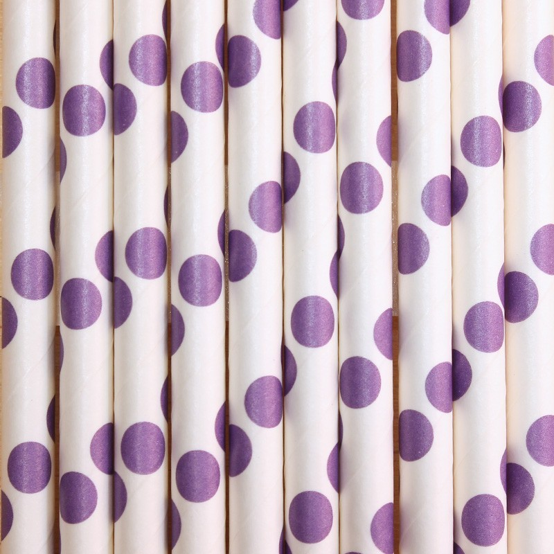 Pitillos de papel lila puntos