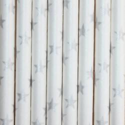 Pitillos de papel estrellas plata