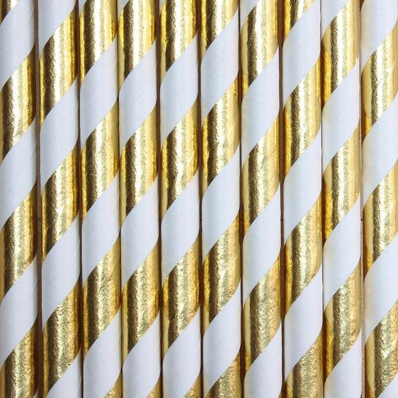 Pitillos de papel rayas dorado