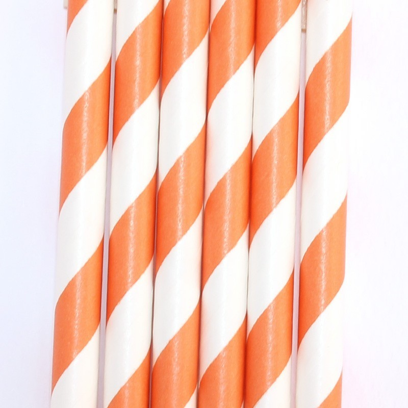 Pitillos de papel rayas naranja