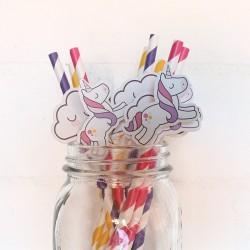 Pitillos de papel decorados unicornio