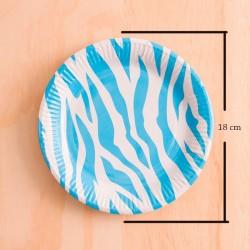Imagén: 12 Platos redondos animal print azul