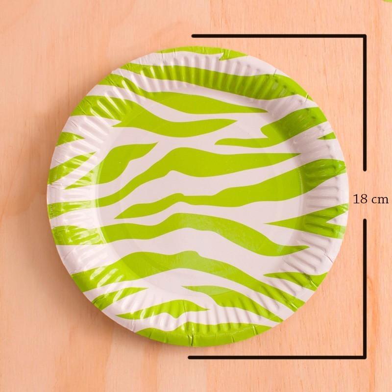 Platos redondos animal print verde