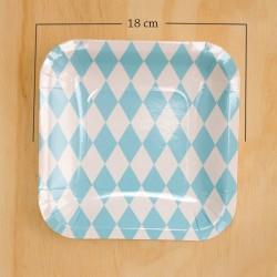 Imagén: 12 Platos cuadrados rombos azules