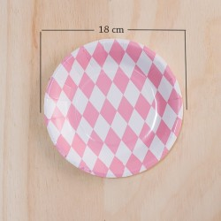 12 Platos redondos rombos rosa