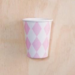 12 Vasos rombos rosa
