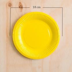 12 Platos de cartón amarillo