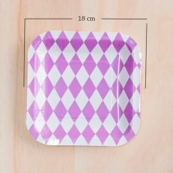 12 Platos cuadrados rombos lila