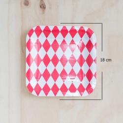 12 Platos cuadrados rombos rojo