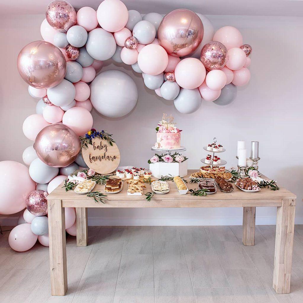 Globos para baby shower rosa y gris