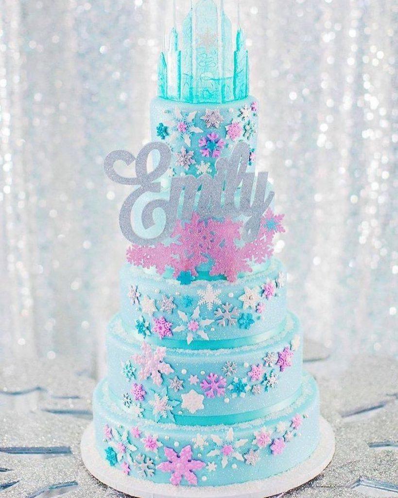 torta castillo princesa de hielo con topper